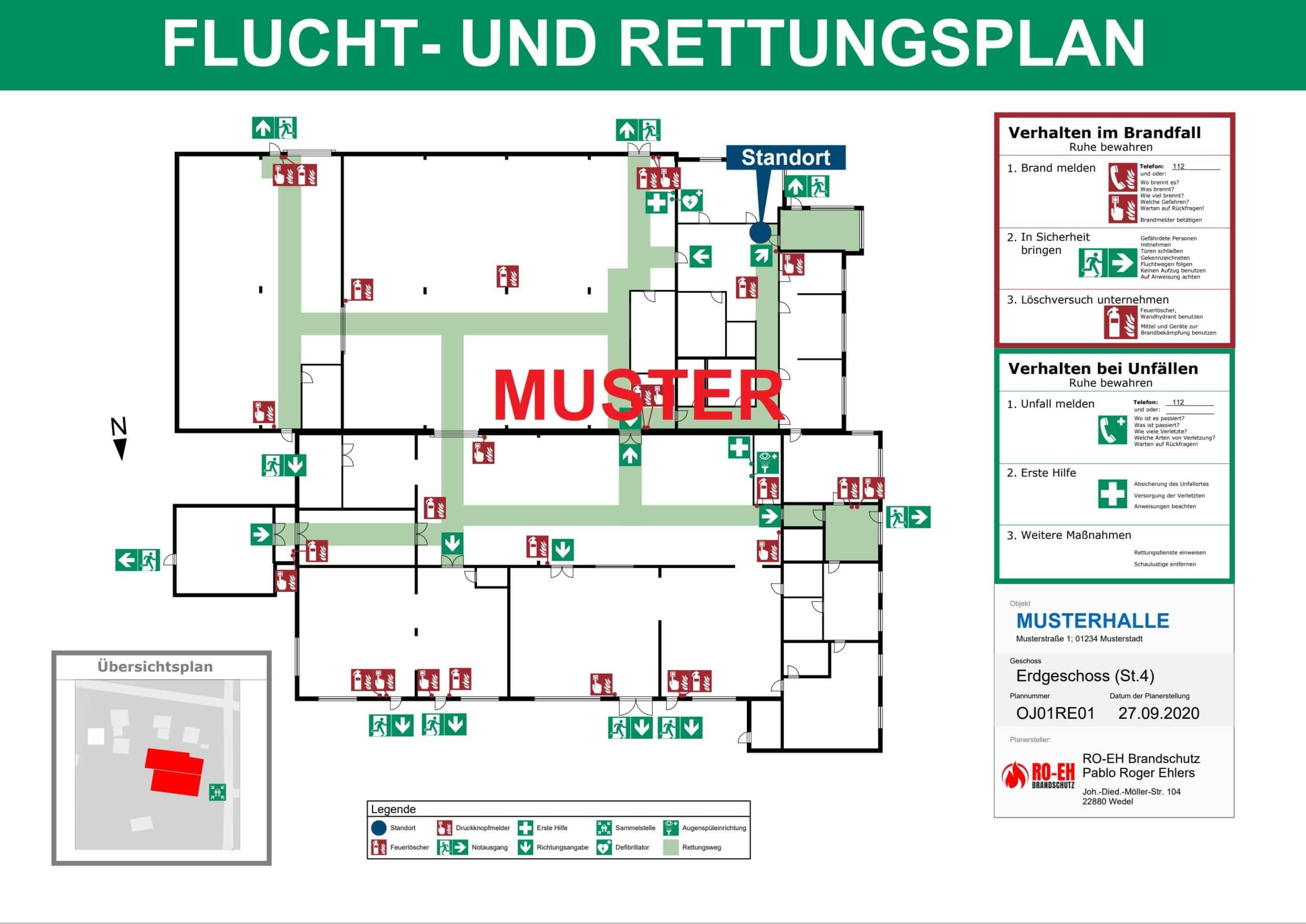 Flucht und Rettungsplan nach DIN ISO 23601